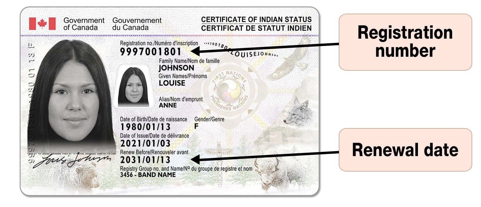 Secure Certificate of Indian Status - Front